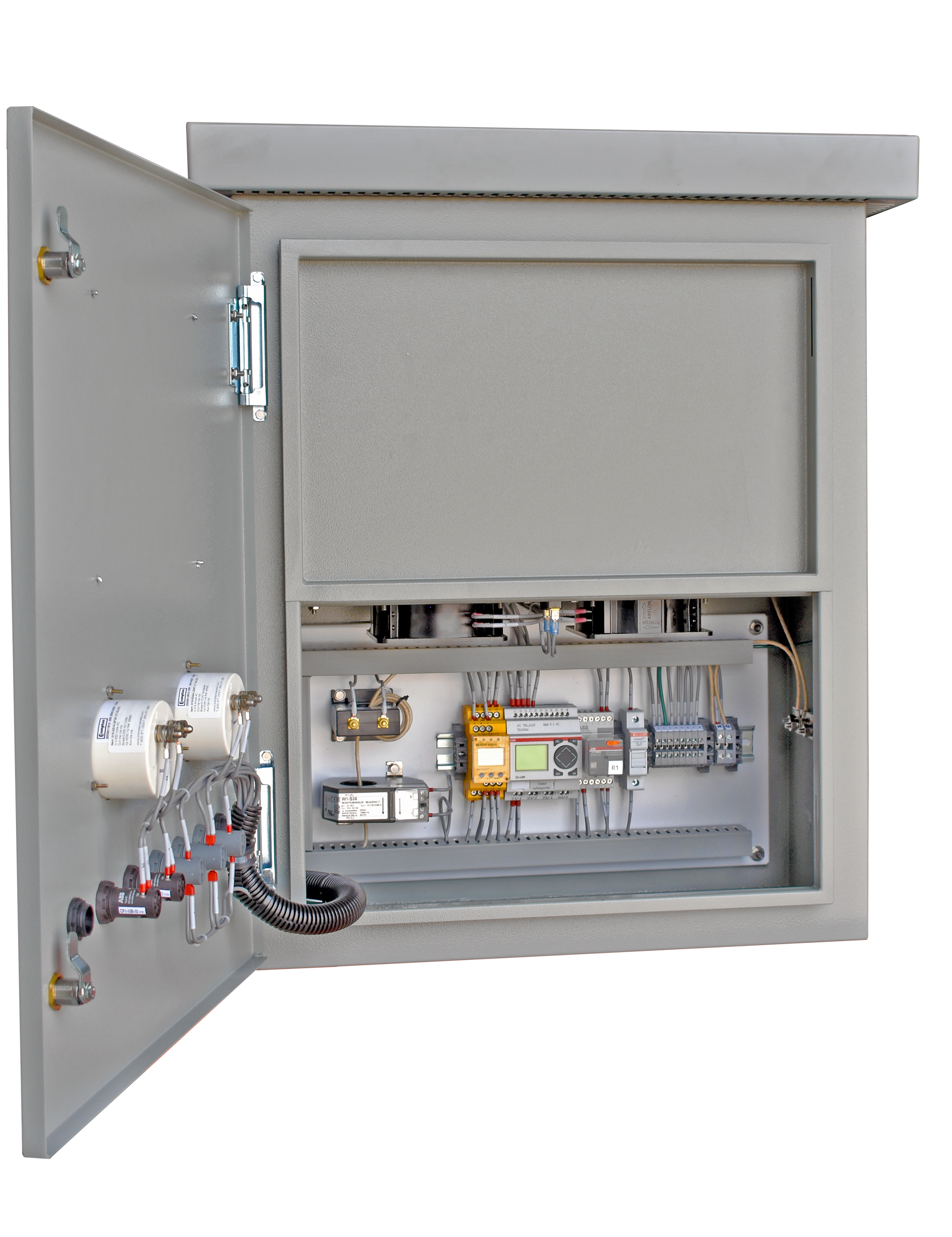 An open panel view of the Basic HRG in an HR1 enclosure with a resistor heat shield
