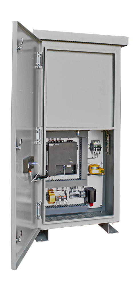 An open panel view of the Intermediate HRG in an HR2 enclosure with a resistor heat shield