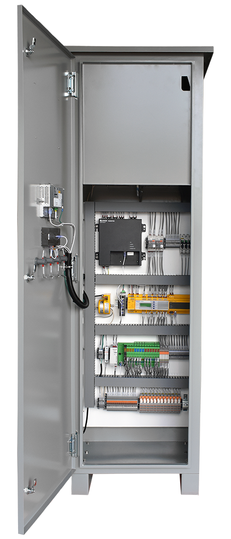 An open panel view of the Flagship HRG in an HR4 enclosure with a resistor heat shield